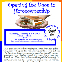 Opening the Door to Homeownership:  2 Classes for $30